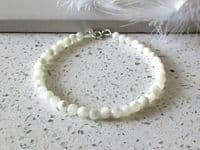 Dainty Natural White Mother of Pearl  Stacker Bracelet | Silver Sensations